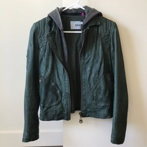 DOMA green leather jacket!
